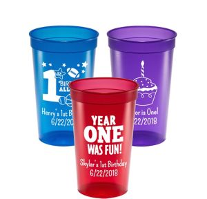 Personalized 1st Birthday Translucent Plastic Stadium Cups 22oz