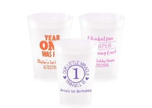 Personalized 1st Birthday Frosted Plastic Shatterproof Cups 12oz