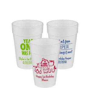 Personalized 1st Birthday Foam Cups 14oz