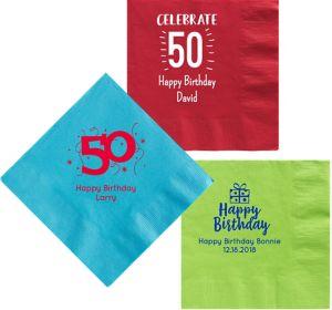Personalized Milestone Birthday Dinner Napkins