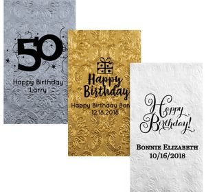 Personalized Milestone Birthday Embossed Damask Guest Towels