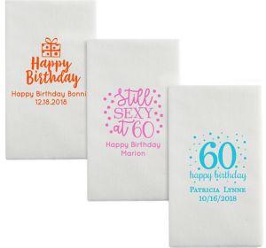 Personalized Milestone Birthday Luxury Deville Side-Fold Dinner Napkins