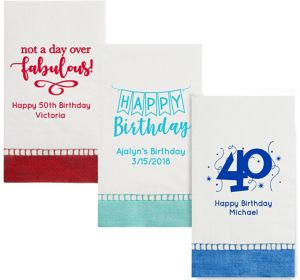 Personalized Milestone Birthday Bordered Guest Towels