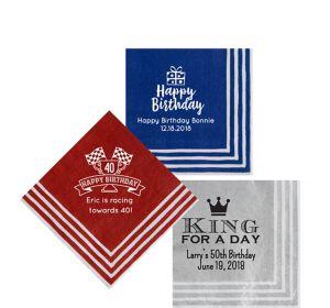 Personalized Milestone Birthday Stripe Border Beverage Napkins