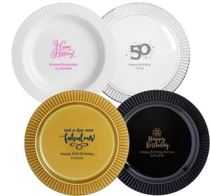 Personalized Milestone Birthday Premium Plastic Dinner Plates