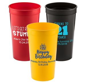 Personalized Milestone Birthday Plastic Stadium Cups 32oz