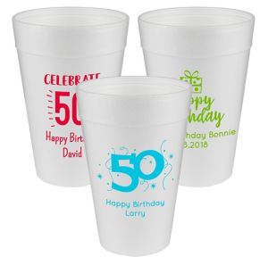 Personalized Milestone Birthday Foam Cups 32oz