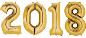 Gold 2018 Number Balloons 4pc
