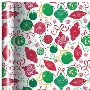 Green & Red Ornaments Gift Wrap