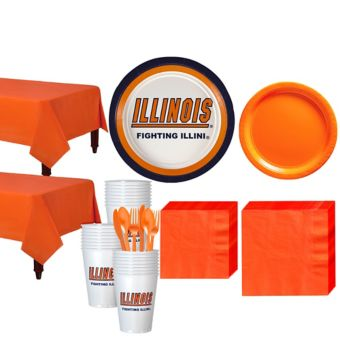 Illinois Fighting Illini Basic Party Kit for 40 Guests