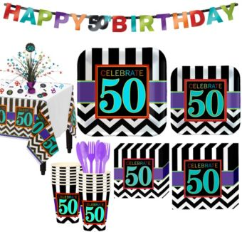 Celebrate 50th Birthday Party Kit for 16 Guests