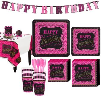 Fabulous Celebration Pink Chevron Birthday Party Kit for 16 Guests