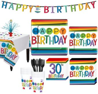 Rainbow 30th Birthday Party Kit for 16 Guests