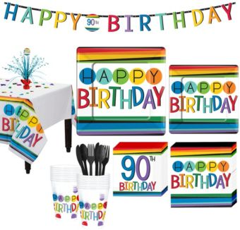 Rainbow 90th Birthday Party Kit for 16 Guests