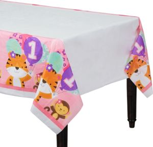 Pink One is Fun 1st Birthday Table Cover