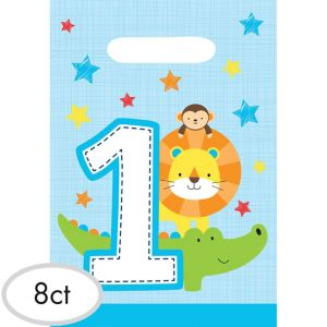 Blue One is Fun 1st Birthday Favor Bags 8ct