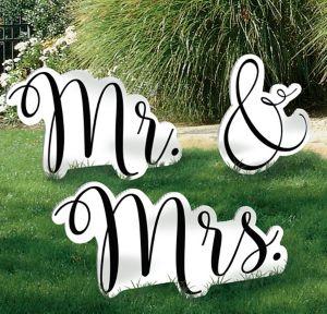 Giant Mr. & Mrs. Wedding Yard Sign Set 3pc