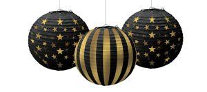 Gold Stars & Stripes Paper Lanterns 3ct