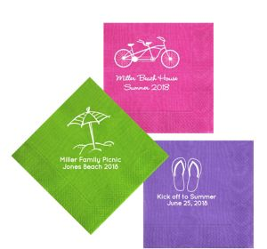 Personalized Summer Moire Lunch Napkins