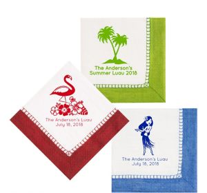 Personalized Luau Bordered Lunch Napkins
