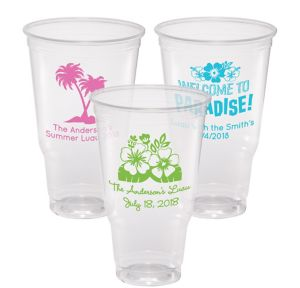Personalized Luau Plastic Party Cups 32oz