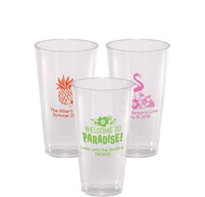 Personalized Luau Hard Plastic Cups 16oz