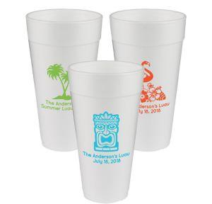 Personalized Luau Foam Cups 24oz