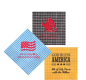 Personalized 4th of July Gingham Beverage Napkins