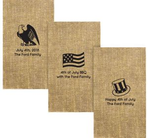 Personalized 4th of July Burlap Print Guest Towels