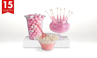 Pink Candy Buffet Kit with Containers for 15 Guests
