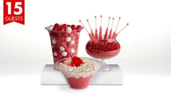 Red Candy Buffet Kit with Containers for 15 Guests