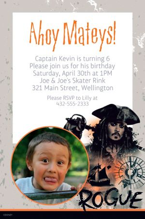 Custom Pirates of the Caribbean Photo Invitation