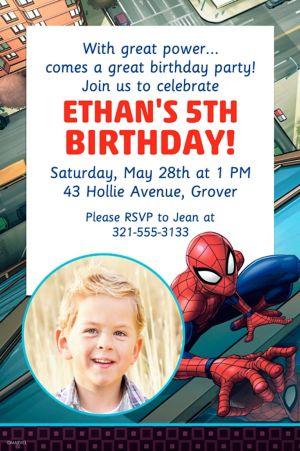 Custom Webbed Wonder Spider-Man Photo Invitation