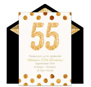Online Golden 55 Invitations