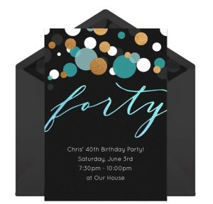 Online Forty Blue Invitations