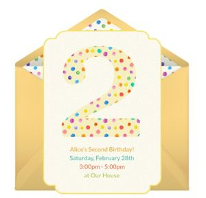 Online 2nd Birthday Dots Invitations