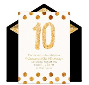 Online Golden 10 Invitations
