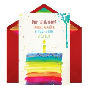 Online Rainbow Birthday Cake Invitations