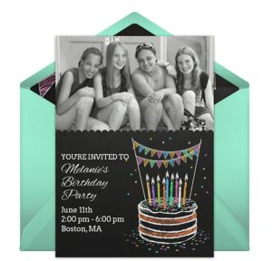 Online Chalk Birthday - Blue Photo Invitations