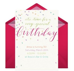 Online Colorful Confetti Pink Invitations