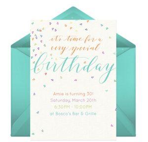 Online Colorful Confetti Blue Invitations