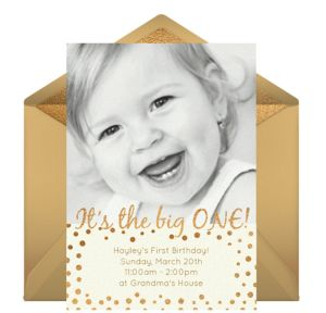 Online The Big One Photo Invitations