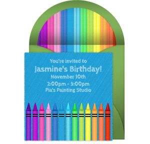 Online Crayons - Blue Invitations