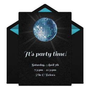 Online Disco Ball - Blue Invitations