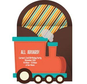 Online Train Die Cut Invitations