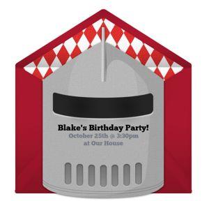 Online Knight Helmet Invitations