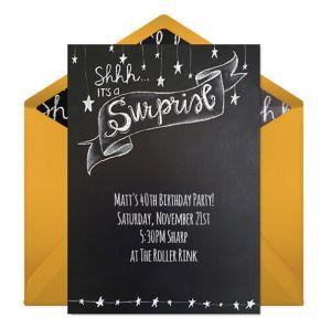 Online Surprise Chalkboard - Yellow Invitations