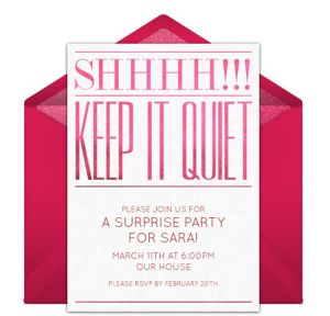 Online Keep it Quiet Invitations