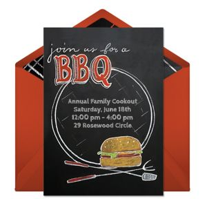 Online Chalkboard BBQ - Red Invitations