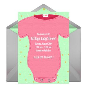 Online Baby Shower Snapsuit - Pink Invitations